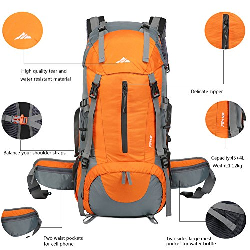 bd07ab516914 Durable Hiking Backpack  Made with high quality polyester + nylon fabric