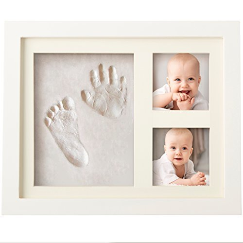Baby Handprint and Footprint Frame Package-Quality Wood Frame with Safe Clay-Baby Gift,Best Baby Shower or Keepsake Personalized Gift Pink 1