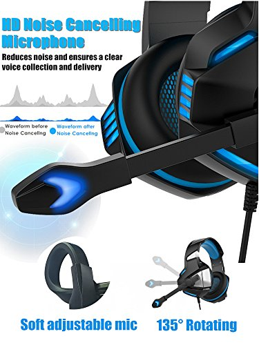 XHN Gaming Headset with Mic for PC PS4 Comfort Earmuffs Noise Cancelling Over Ear Gaming Headphone Mic Easy Volume Control for Playstation 4 Lightweight