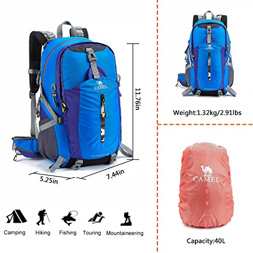 021c415424 CAMEL CROWN 40L Hiking backpack Water Resistant Outdoor Sports ...