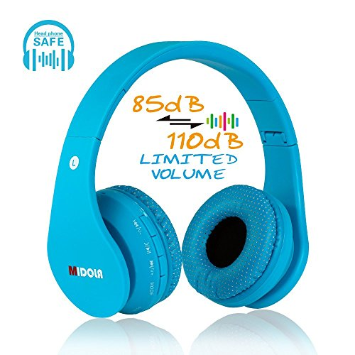 45db0f7544d MIDOLA Kids Wireless Bluetooth headset with wire on headphones foldable  earphone …
