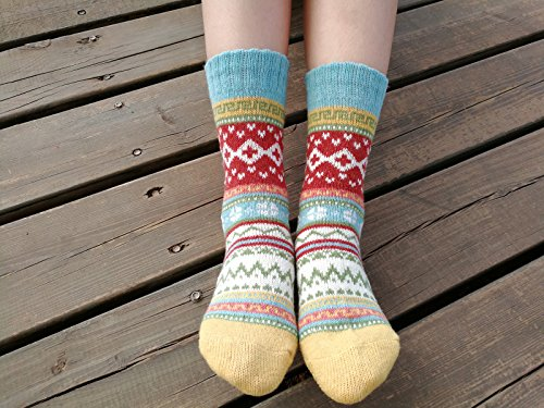 375136ca141 YZKKE 5Pack Womens Vintage Winter Soft Warm Thick Cold Knitted ...