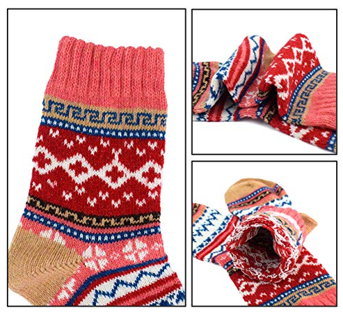 16f1f99bf26 YZKKE 5Pack Womens Vintage Winter Soft Warm Thick Cold Knitted Woolen Wool  Socks