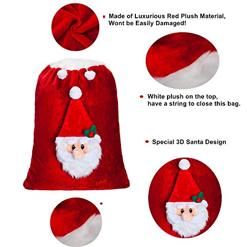 9d97c488b2bd7 Oversized Santa Claus gift bag in velvet with faux fur cuff with 3D ...