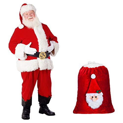 Oversized Santa Claus gift bag in velvet with faux fur cuff with 3D plush … 233caaaba4bd