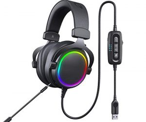 Virtual 7.1 Channel Surround Technology Ergonomic Head Beam Lightweight Design Intelligent Noise Reduction CHUSHENG Dual Microphone Computer Game Wired Headset